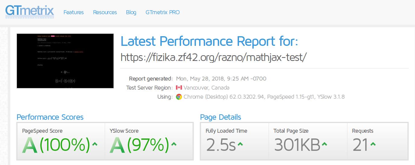 GTmetrix MathJax