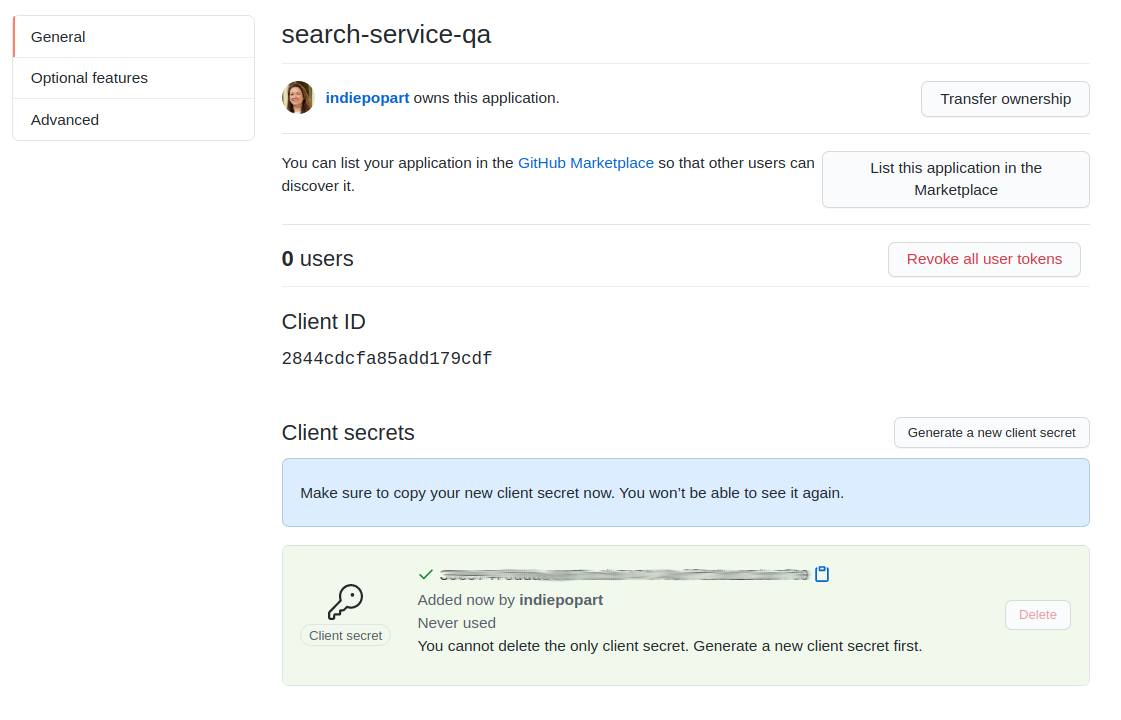 GitHub OAuth Application clientID and secret