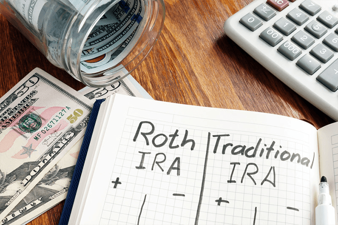 Money spilling out of a jar while pros and cons of a Roth IRA and a Traditional IRA are compared