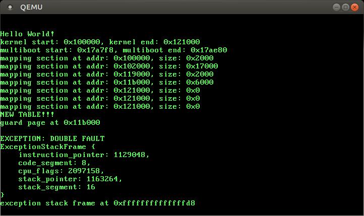 QEMU printing `exception stack frame at 0xffffffffffffffd8