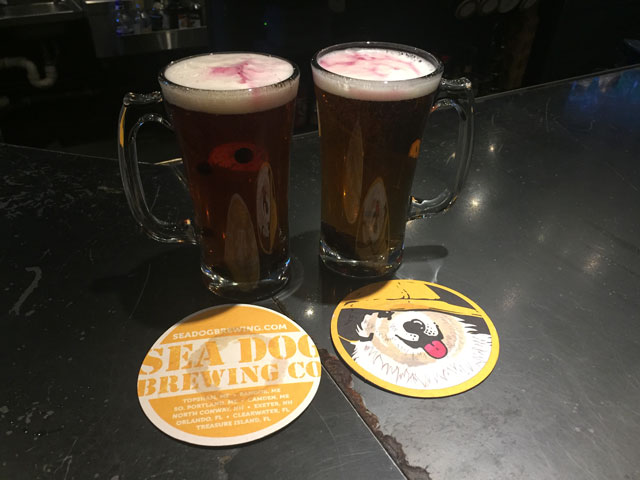 Two pours of Sea Dog Blueberry Wheat