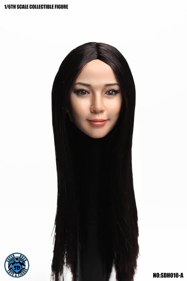 Super Duck SDH010A 1/6 Scale Female Head Sculpt (Black Long Hair)