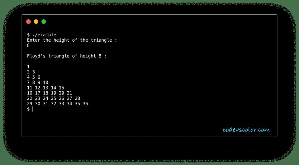 C++ floyd triangle example