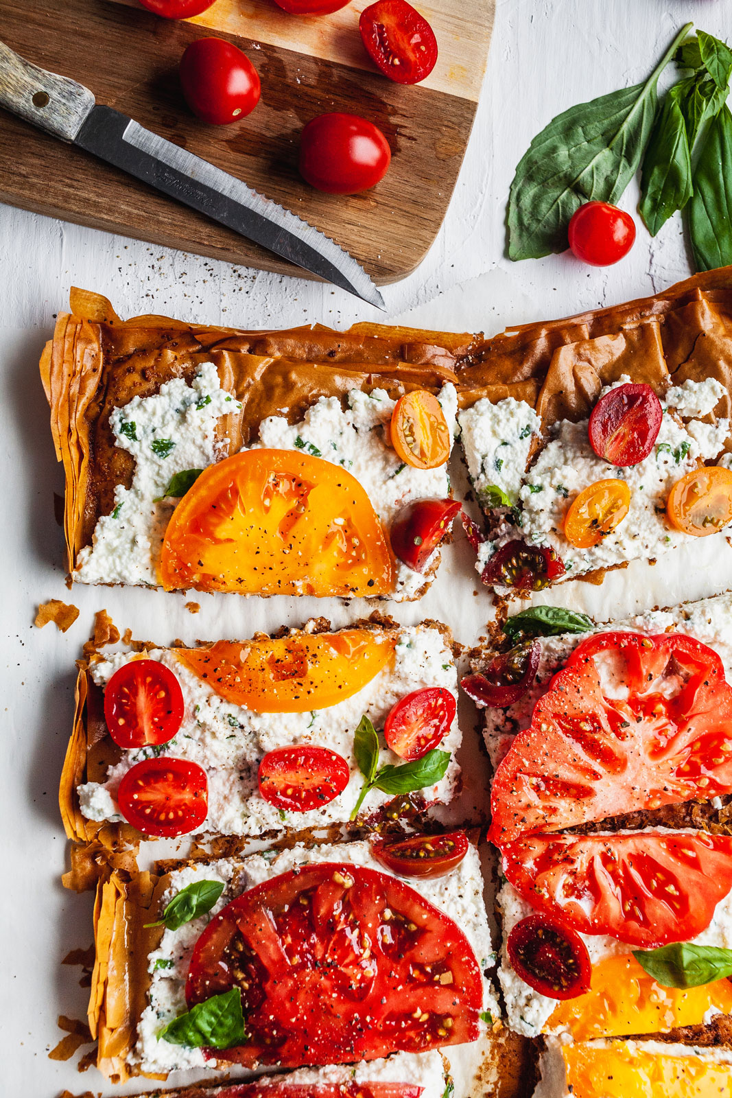 Tomato Phyllo Herbed Ricotta Tart