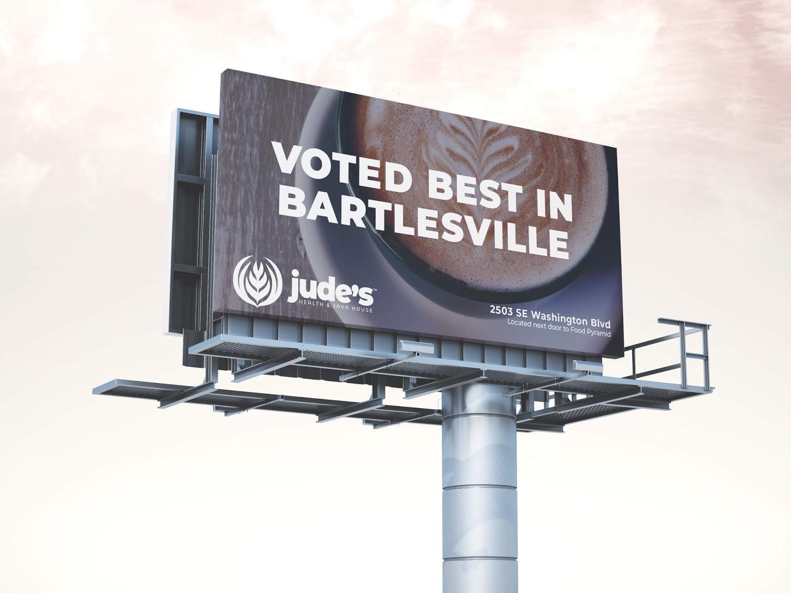 A billboard to advertist Jude's coffee