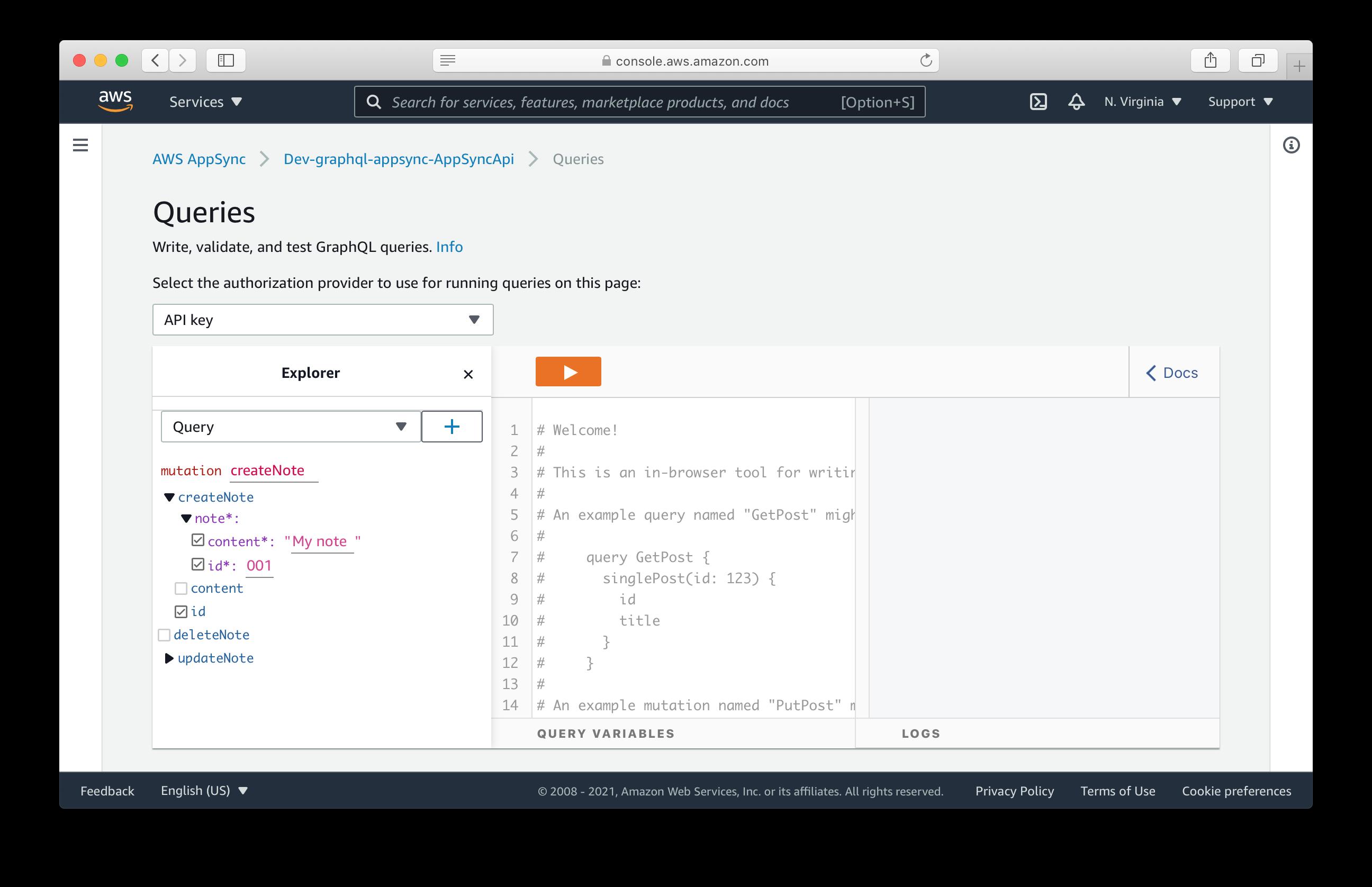 AWS AppSync query editor console