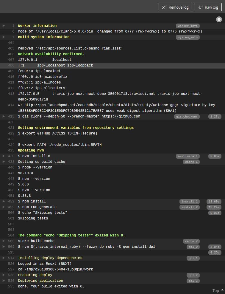 Travis Builder Server Output