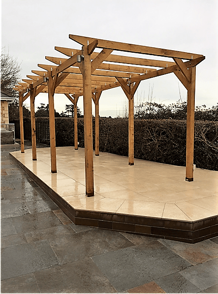 Oak Pergola on a raised patio stand-alone