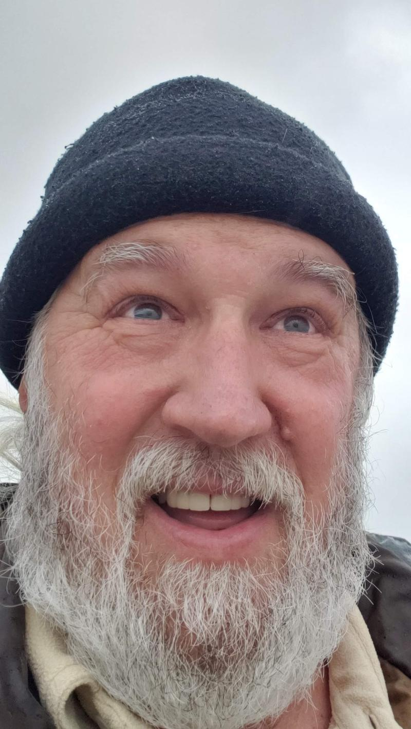 "Tim's ""Shackleton"" look - rough day on the beach"