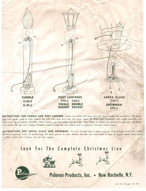 Poloron Products Candle #C-65-2, C-39-2, Post Lantern #C96-2, C66-2, Santa Claus #C67-1, Snowman #C91-1 Instruction Manual.pdf preview