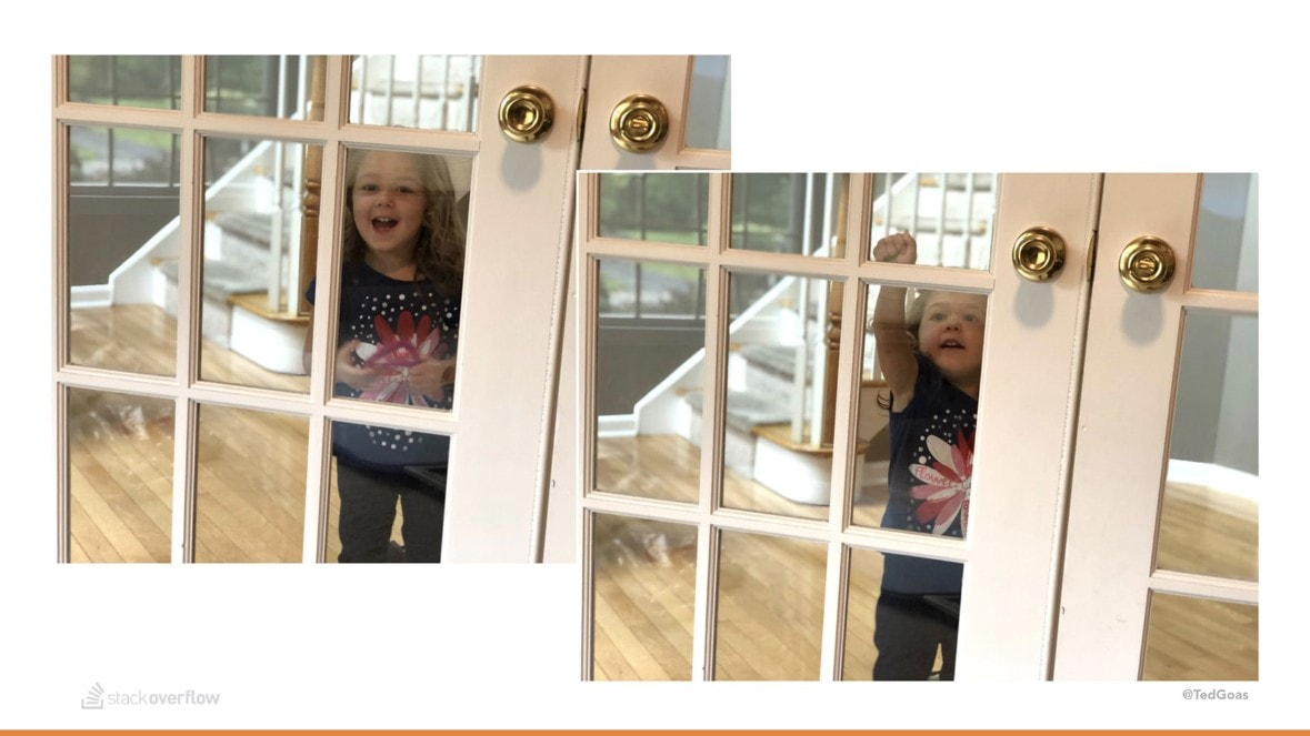 My daughter Wren trying to get in my office.