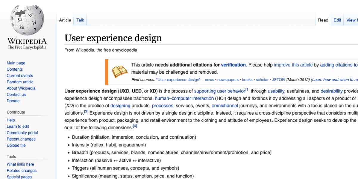 Screenshot of the UX Design page on Wikipedia