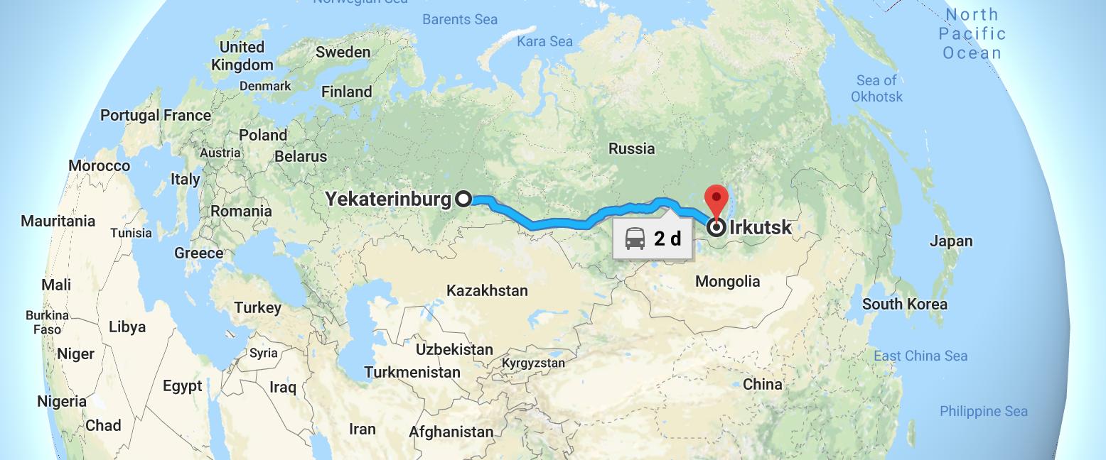 My travel route from Yekaterinburg to Irkutsk on the Trans-Siberian Railway.