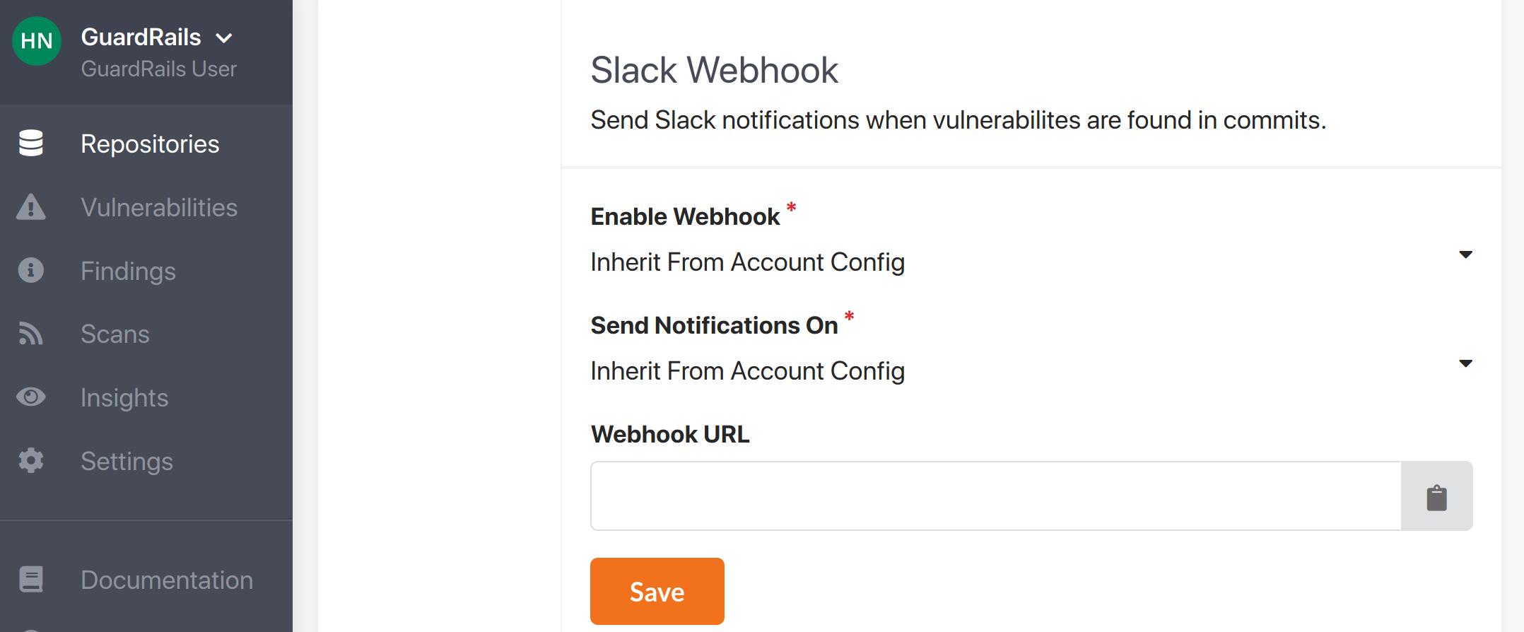 repository settings for Slack