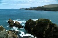 High banks and jagged coast are characteristic of Shetland