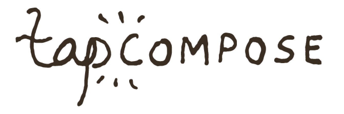 White background with the black cursive text 'Tapcompose' and radiant lines eminating from halfway between the 'p' of 'Tap' and the 'c' of 'compose.'