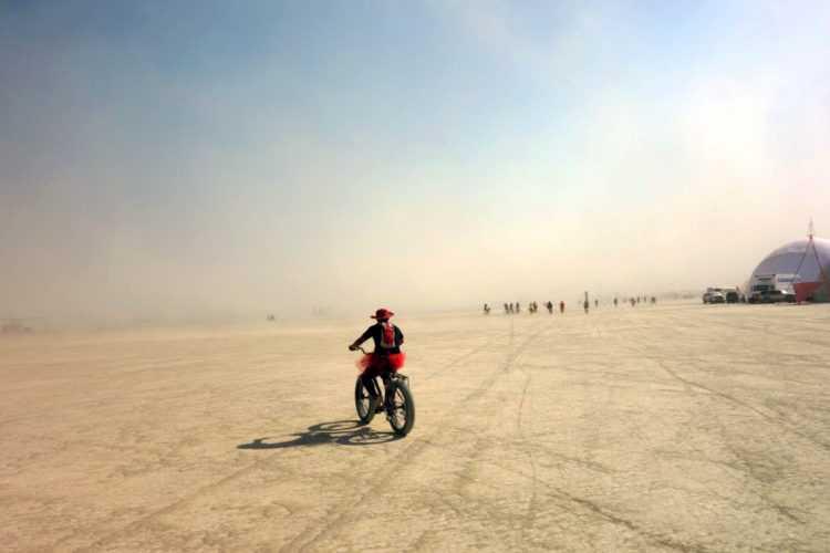 Burning Man Tutu on Bike