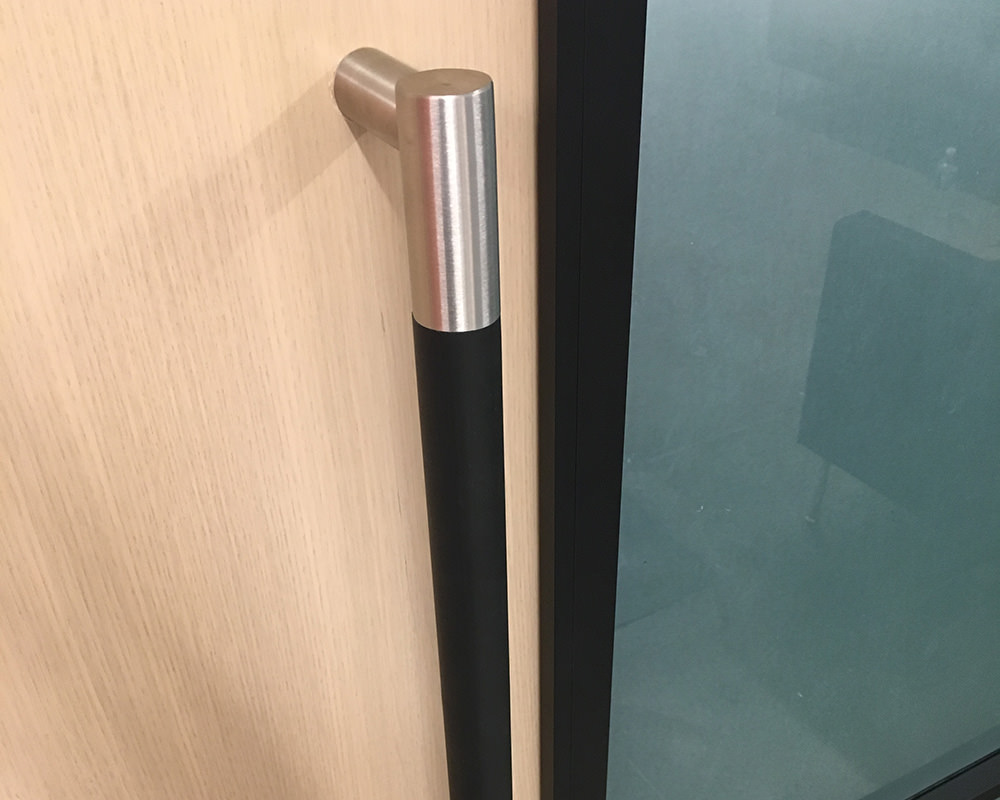 Black Sliding Door Handle with Metal Capping