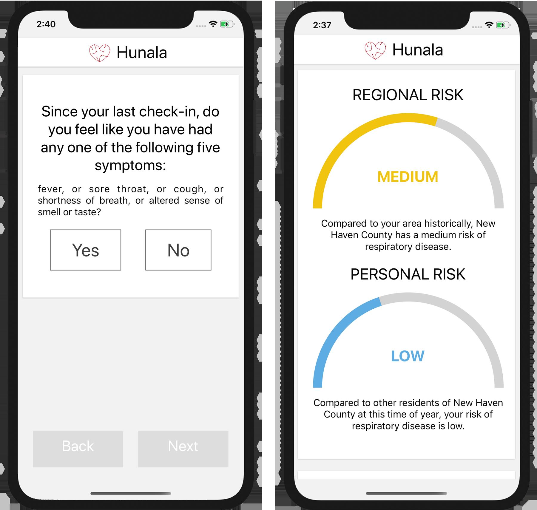 Screenshots of the Hunala mobile app.