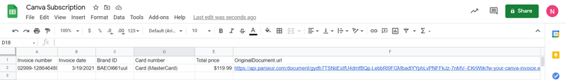 parsed data exported to Google Sheets successful