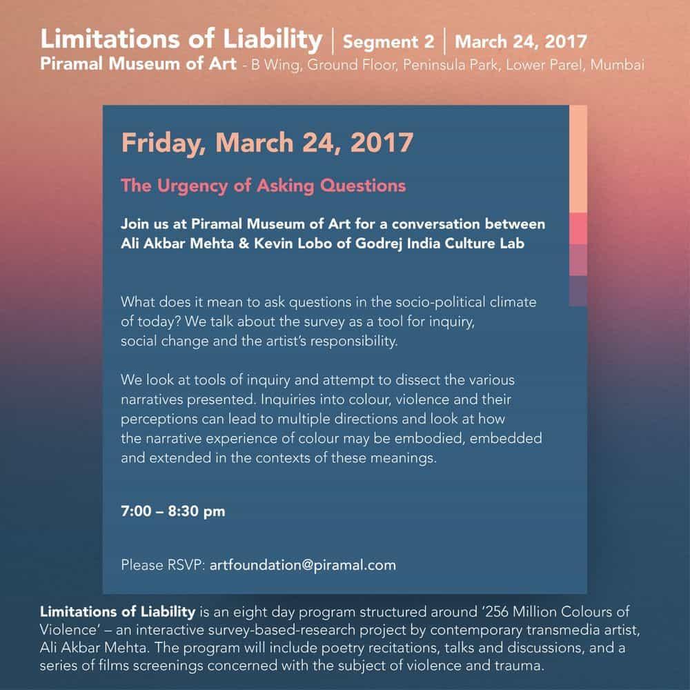Limitations of Liability, segment 2, Piramal Museum of Art, 2017