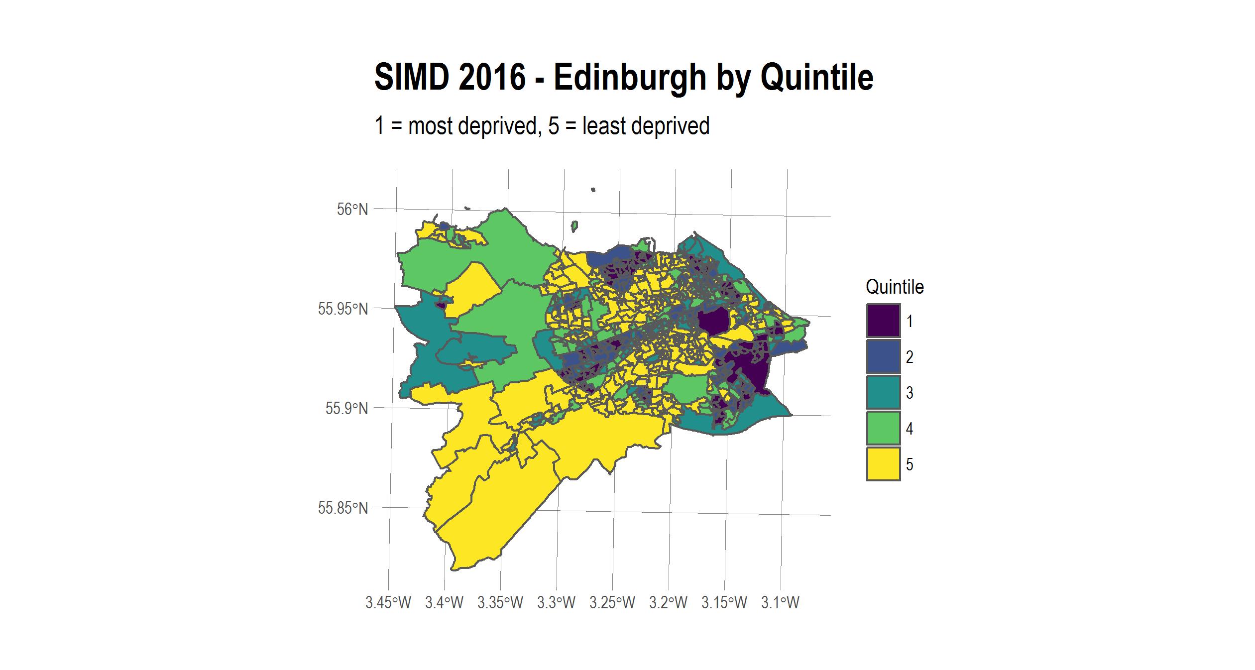 Edinburgh deprivation by quintile