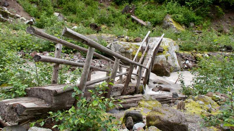 The bridge at Kennedy Creek is broken in half