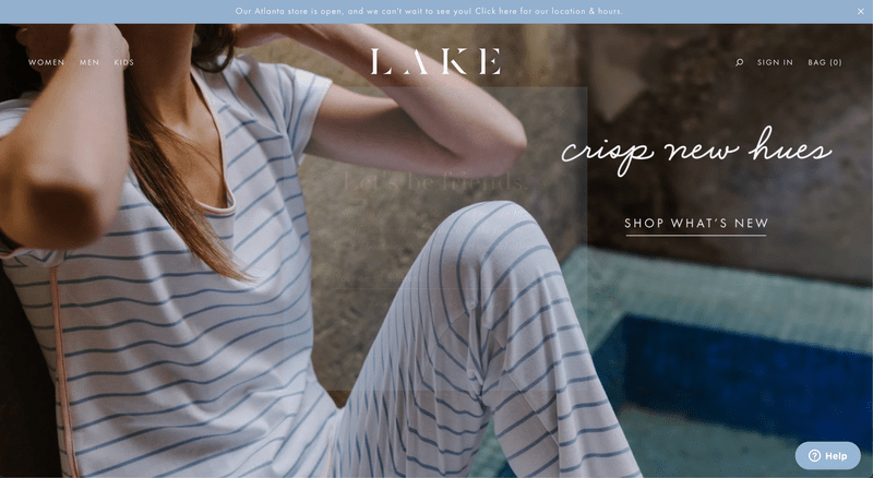 Lake Pajama's Shopify Website Homepage