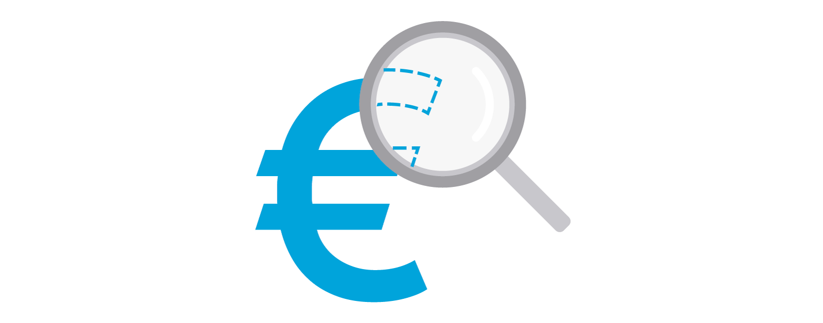 Illustration showing a Euro sign with a magnifying glass over it