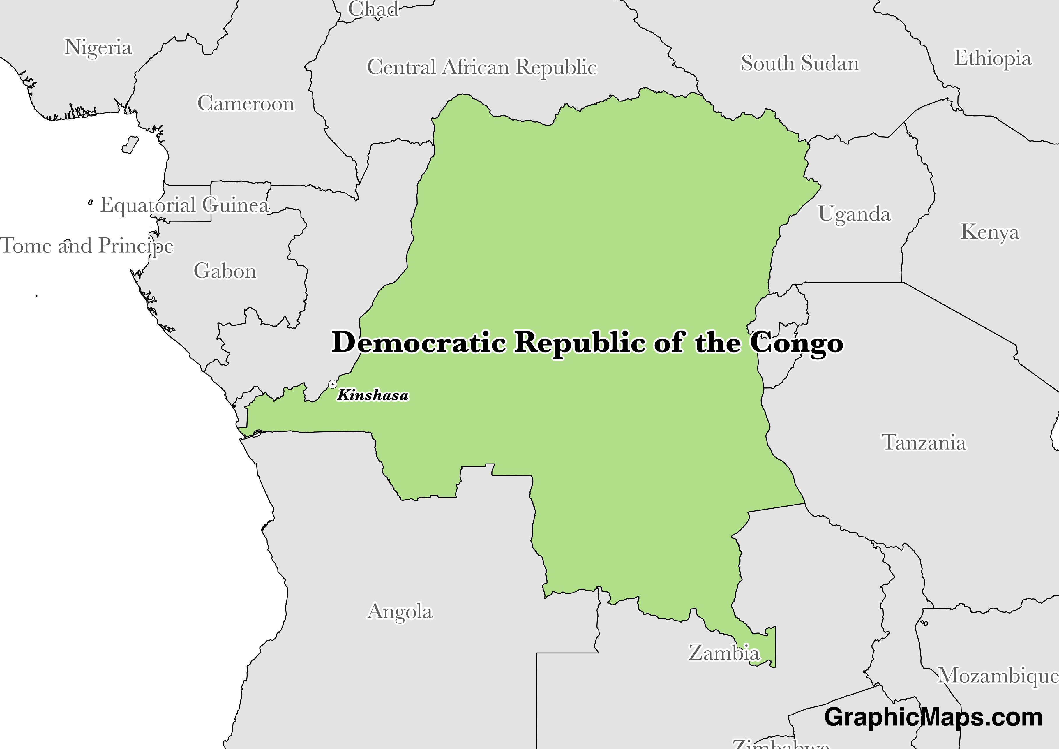 Map showing the location of Democratic Republic of the Congo