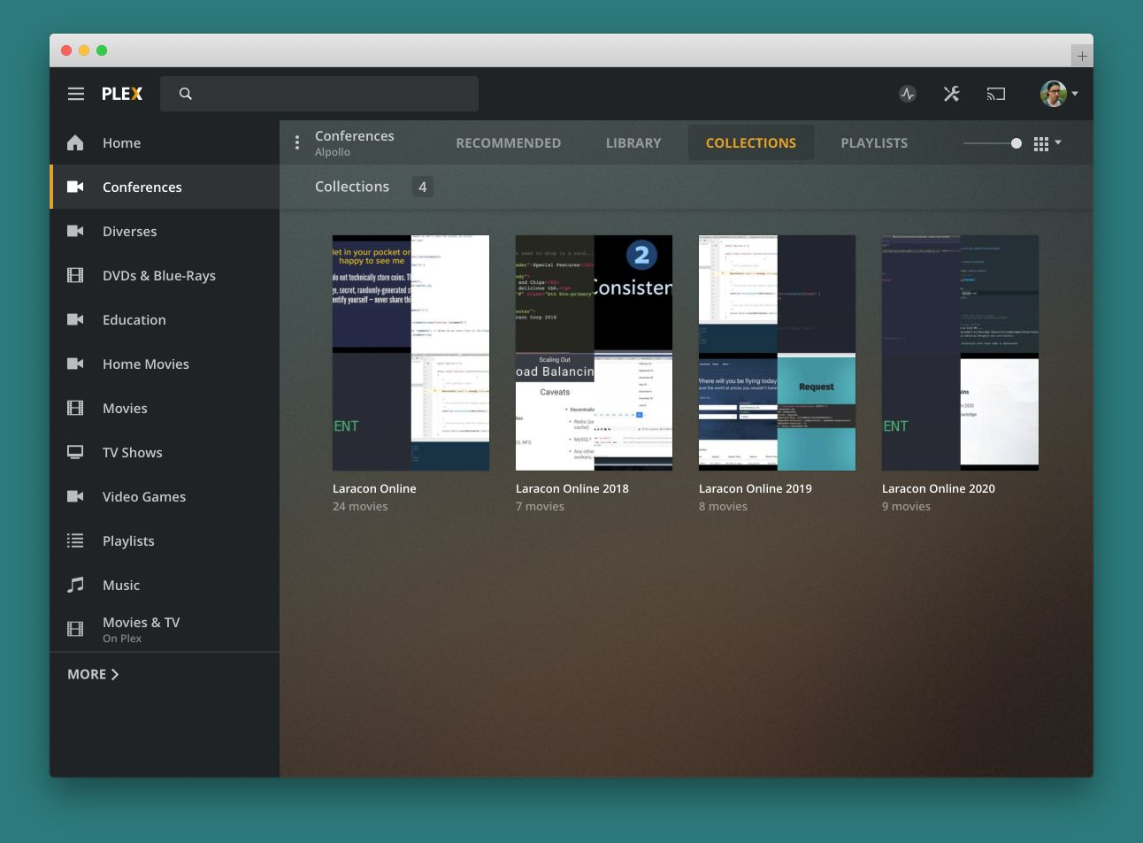 Screenshot of the Plex Dashboard with recorded talks of past Laracons