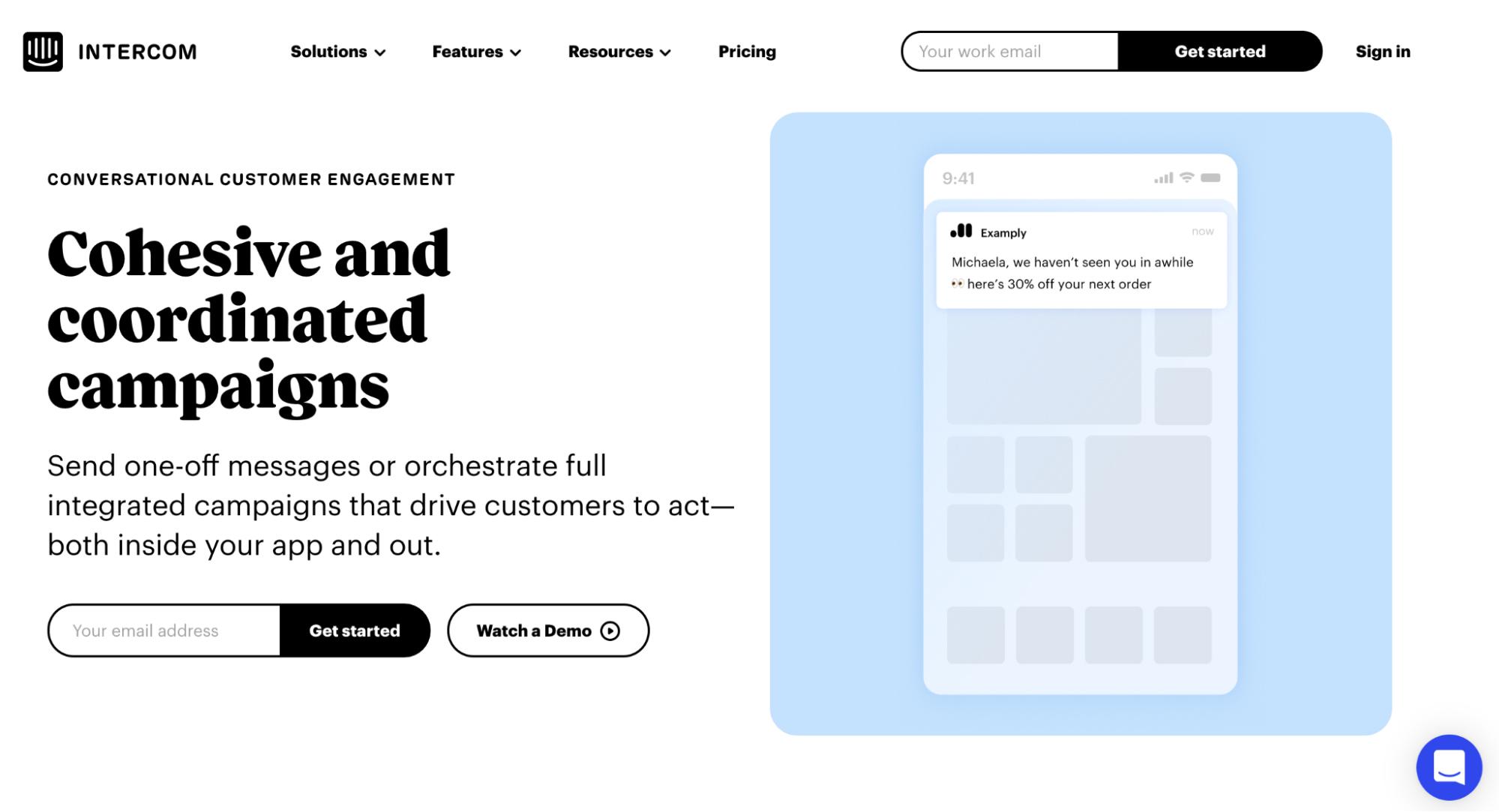 Mailchimp Alternatives: Intercom Screenshot