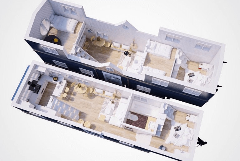 A Tiny House floor plan with two loft bedrooms in staggered format, plus a third bedroom could be in either of the two downstairs rooms.