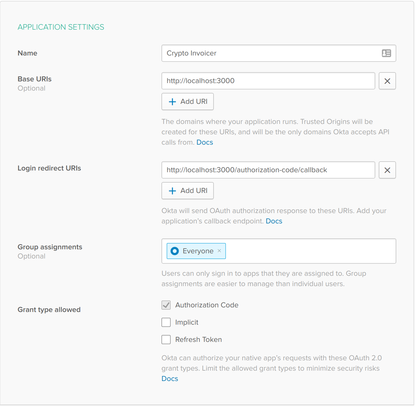 Okta Create App