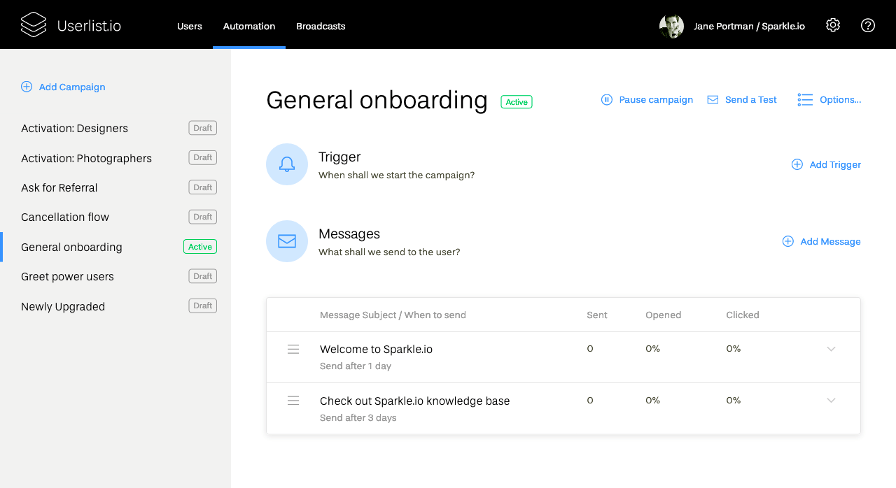 Send automated email and in-app messages