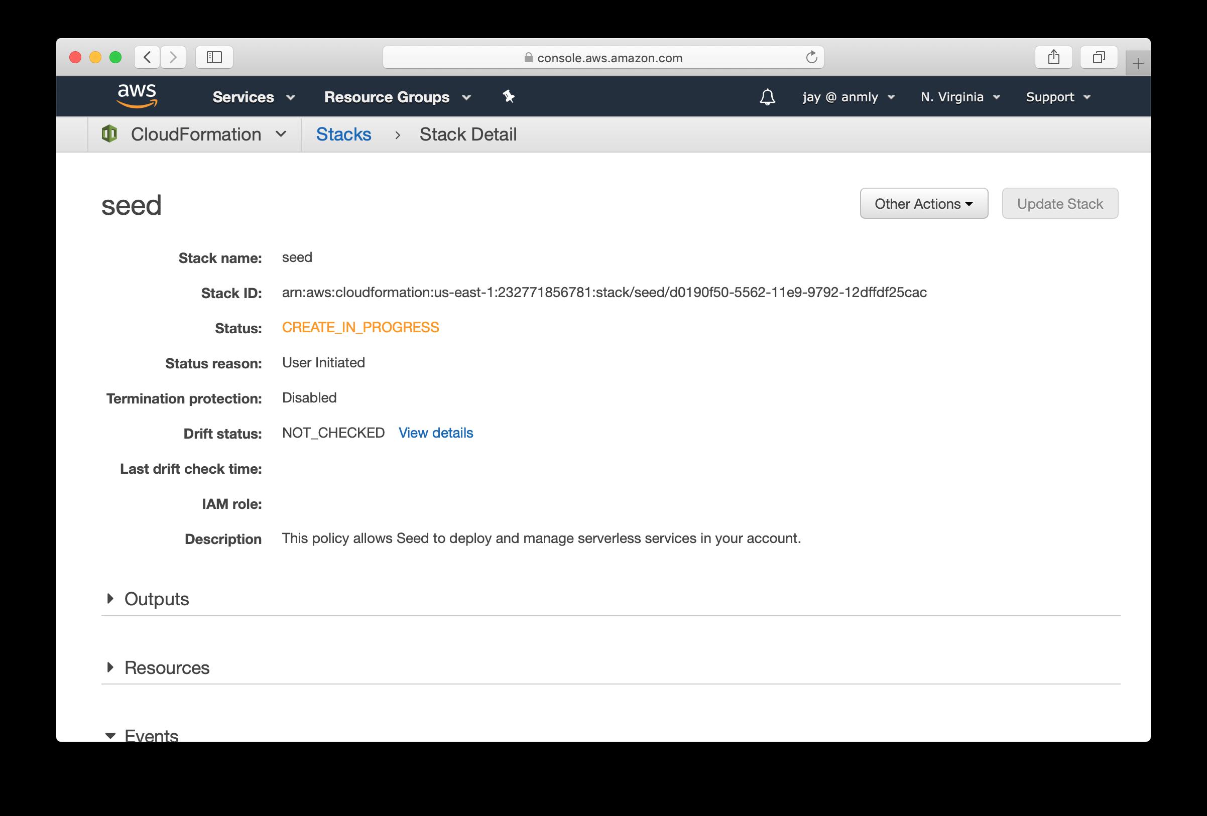 CloudFormation Seed user creating screenshot