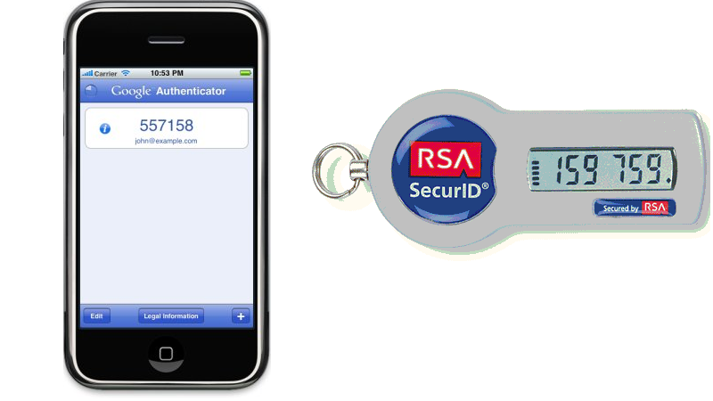 21.1: The Google Authenticator app is one popular example of a one-time password scheme using pseudorandom functions. Another example is RSA's SecurID token.