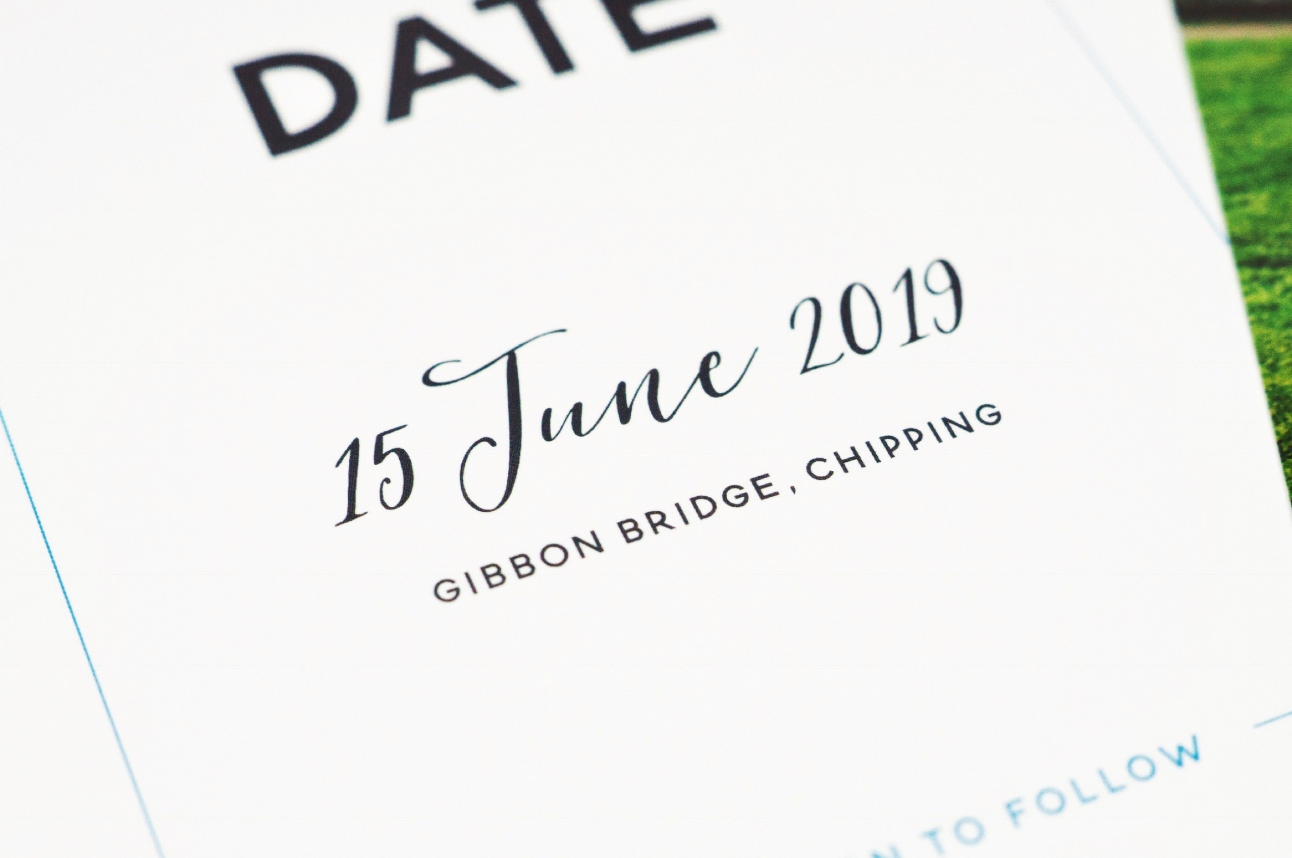 Bespoke save the date wedding stationery design for Emma and Jonathan
