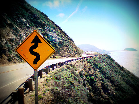 Road sign on Highway 1 near Carmel-by-the-Sea, CA