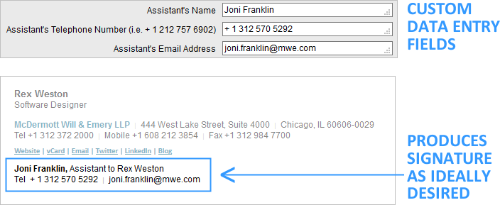 email signature custom data entry fields