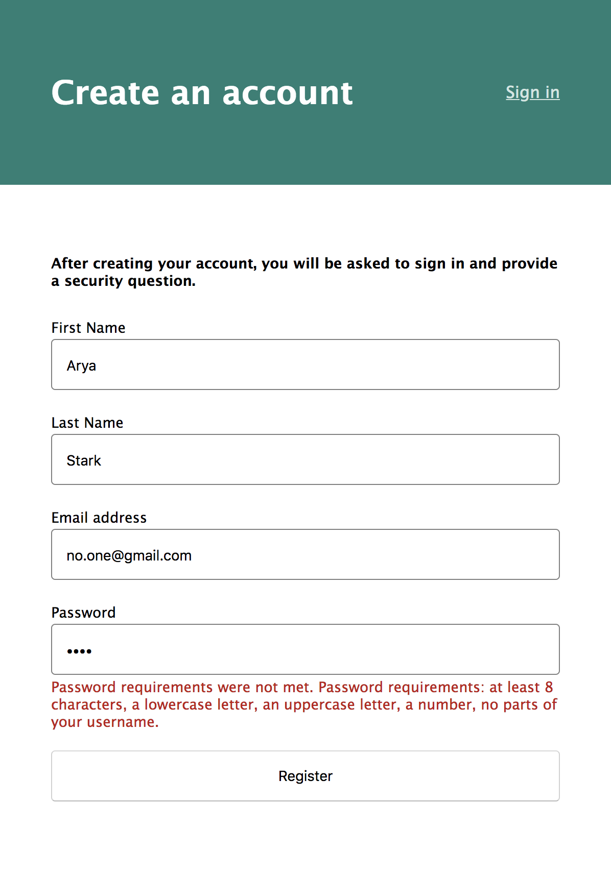 Account Password Requirements
