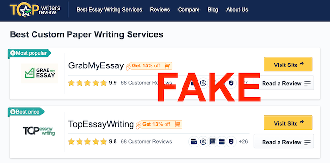 topwritersreview.com is a fake blog associated with GrabMyEssay