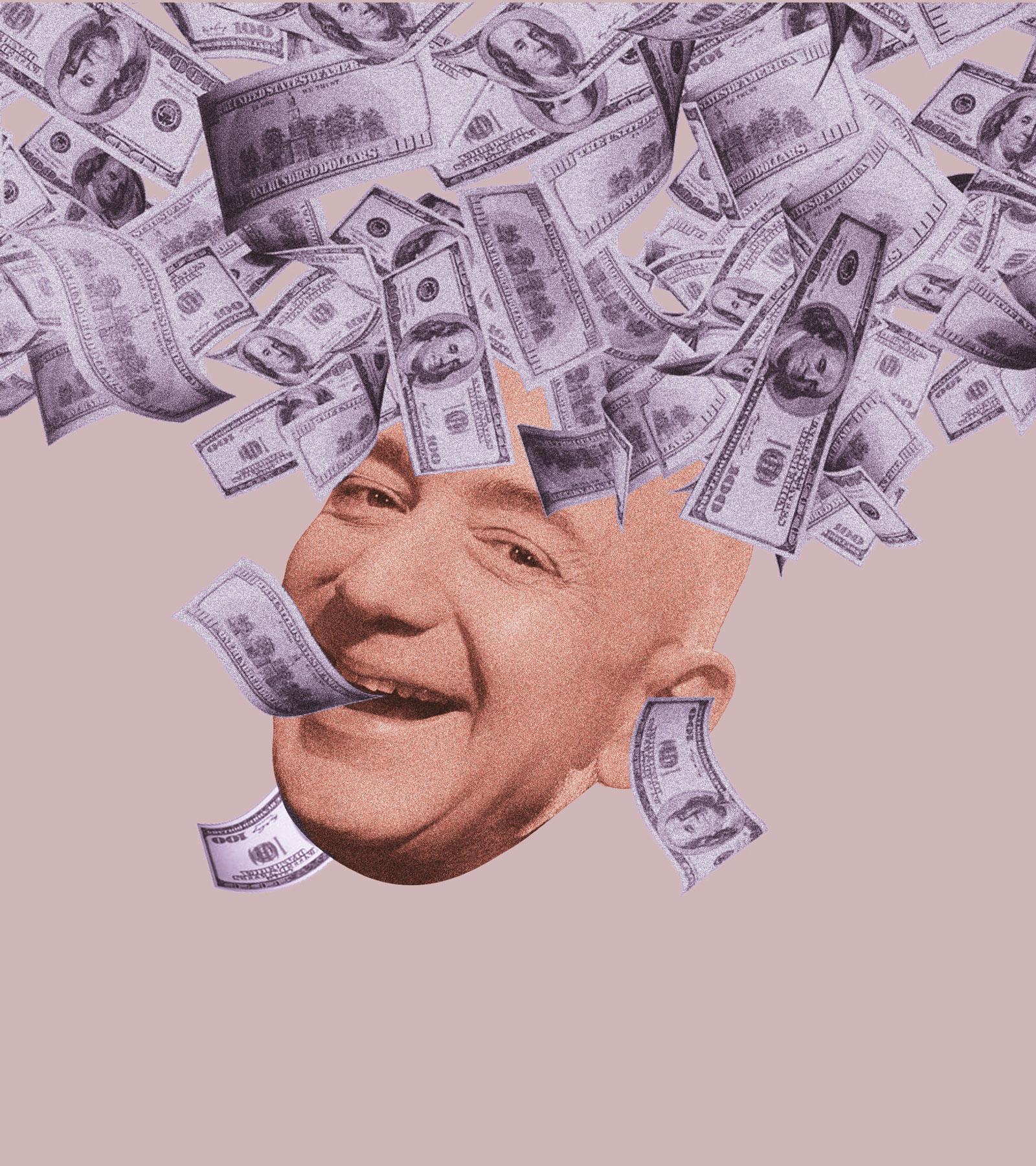 Jeff Bezos im Geldscheinregen