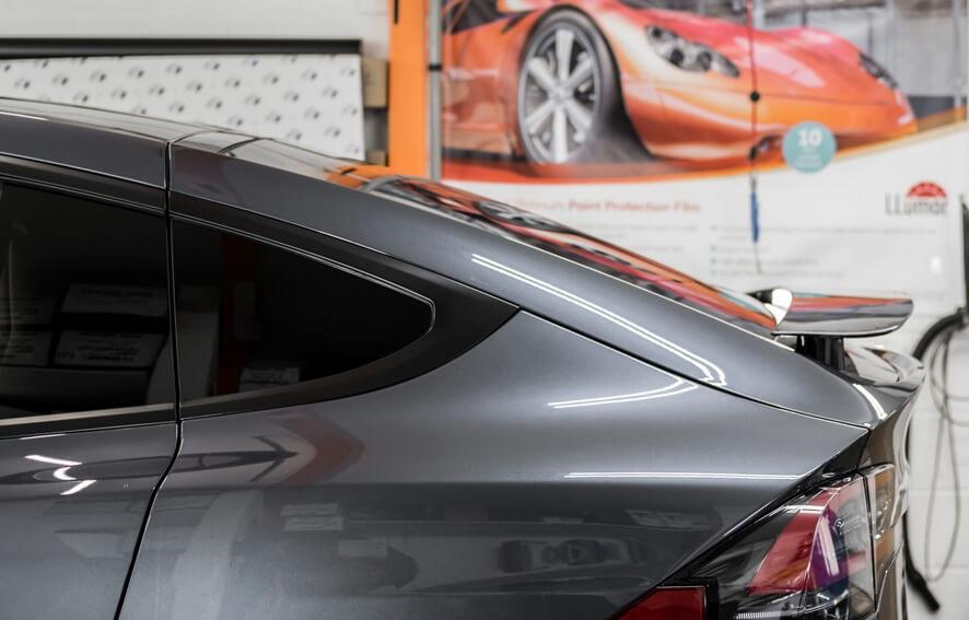 Chrome delete/removal on car using matte black vinyl wrap