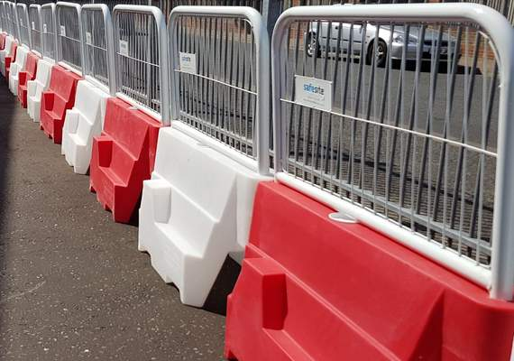 Pyramid Barrier With Fence Close Up