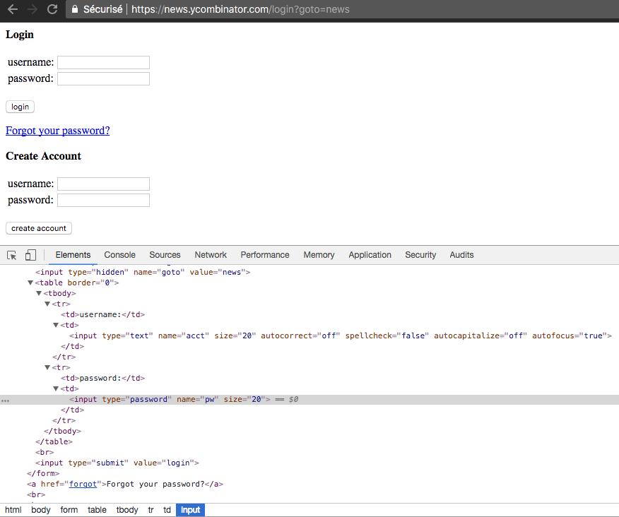 Hacker News screenshot