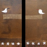 "Ilze Dusel, Latvia. ""The Birds"". MDF, mixed media, 50x70 (two pieces)"