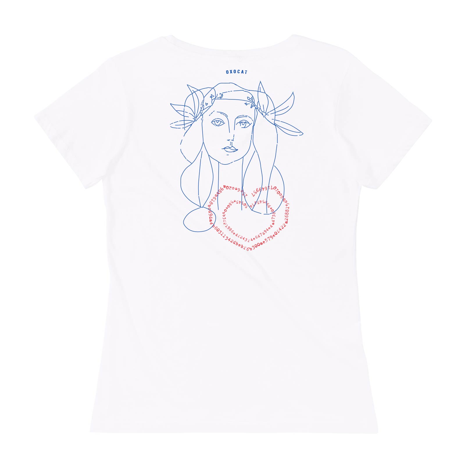 SHE-3 encrypted heart. On the back line drawn lady with the SHA-3(Keccak) encrypted text '0X0CAT' in heart shapes. Logo shown in the neck area.