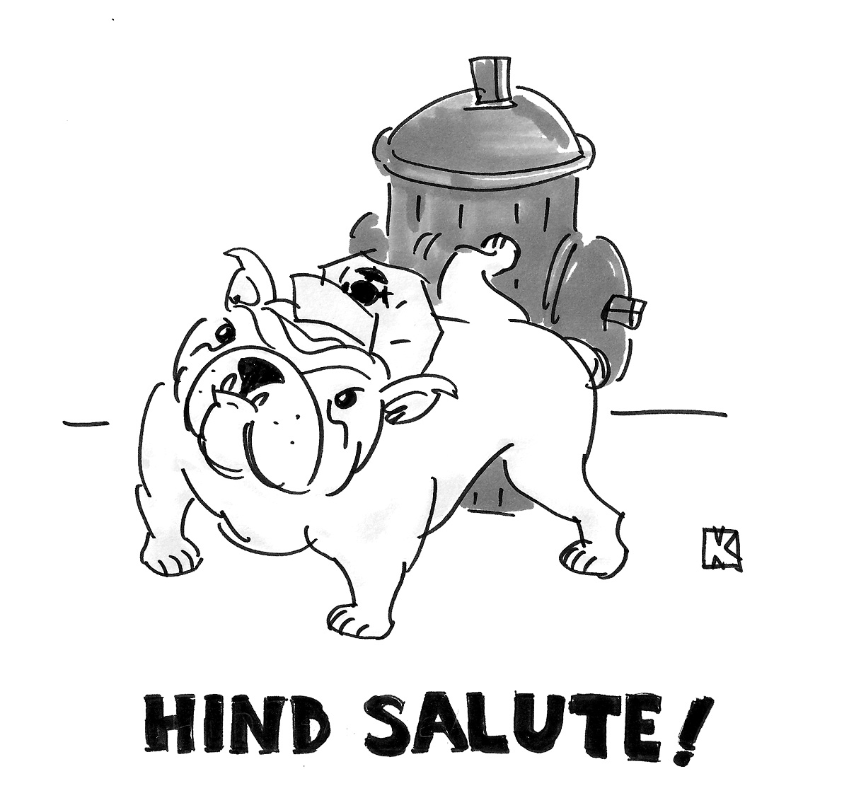 (Bulldog urinating on fire hydrant, with caption: 'Hind salute!')