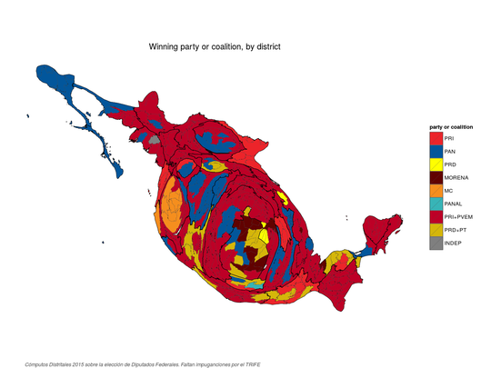Equal area cartogram of the winning party or coalition in each district